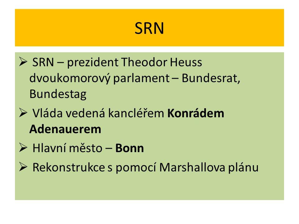 SRN  1955 – vstup do NATO  Člen společenství – EHS, EUROATOM  Od 1951 – průmyslová velmoc  1957 – připojeno Sársko  Západní Berlín – úniková cesta pro východoněmecké občany – zvláště odborníky
