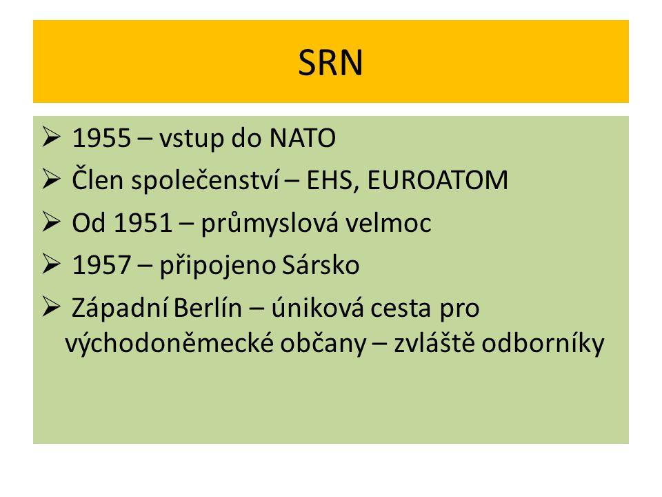 NDR  Lidově demokratický stát, satelit SSSR  Prezident Wilhelm Pieck  SED – Walter Ulbricht  Hlavní město – Východní Berlín  Člen RVHP, Varšavské smlouvy  Odchod občanů do Západního Berlína - destabilizace