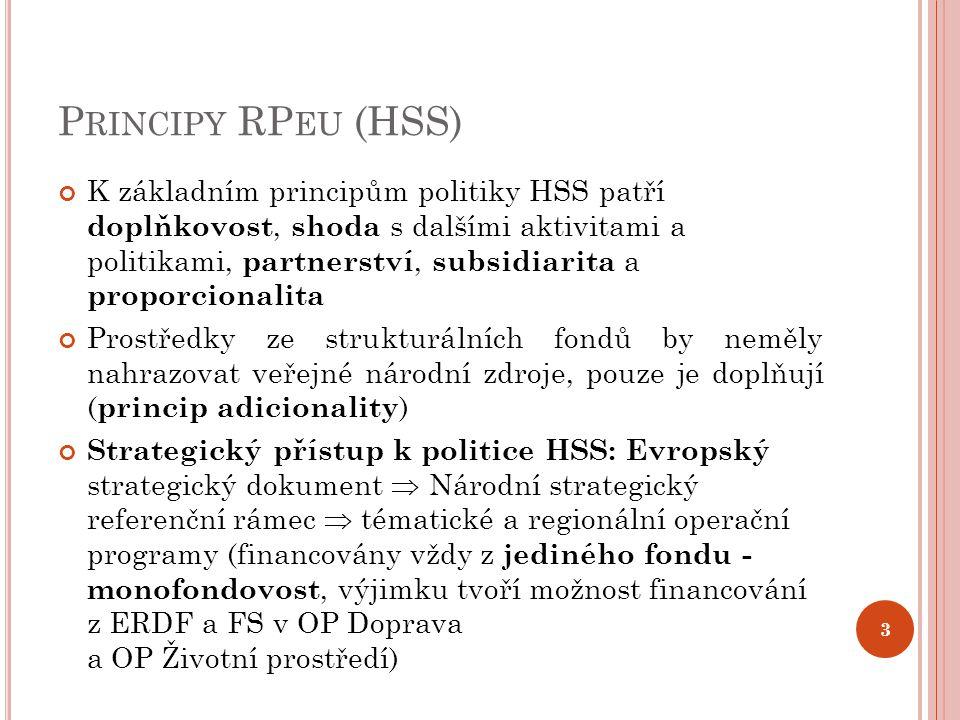 P RINCIPY RP EU (HSS) K základním principům politiky HSS patří doplňkovost, shoda s dalšími aktivitami a politikami, partnerství, subsidiarita a proporcionalita Prostředky ze strukturálních fondů by neměly nahrazovat veřejné národní zdroje, pouze je doplňují ( princip adicionality ) Strategický přístup k politice HSS: Evropský strategický dokument  Národní strategický referenční rámec  tématické a regionální operační programy (financovány vždy z jediného fondu - monofondovost, výjimku tvoří možnost financování z ERDF a FS v OP Doprava a OP Životní prostředí) 3