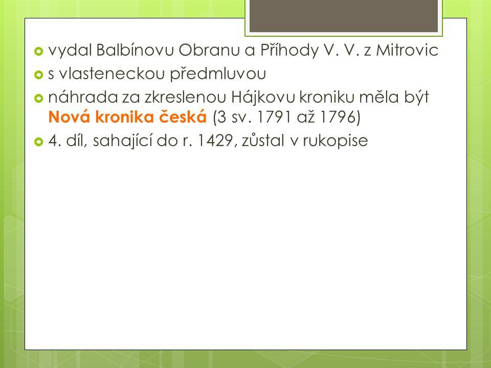  vydal Balbínovu Obranu a Příhody V. V.