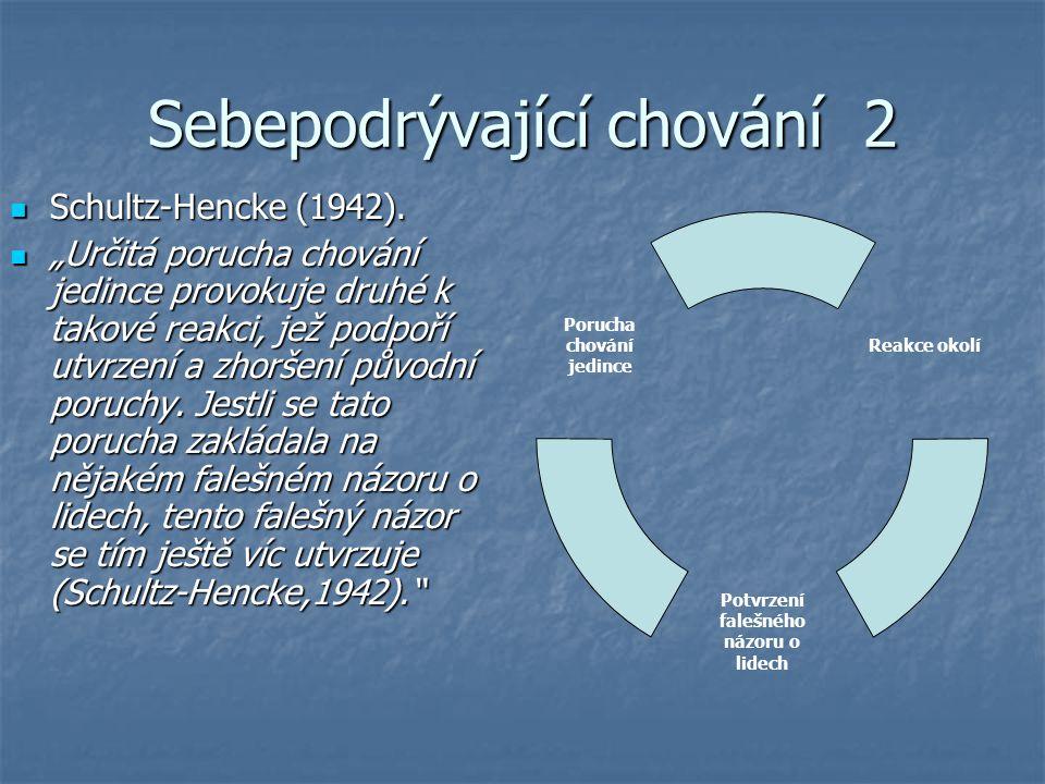 """Sebepodrývající chování 2 Schultz-Hencke (1942). Schultz-Hencke (1942). """"Určitá porucha chování jedince provokuje druhé k takové reakci, jež podpoří u"""