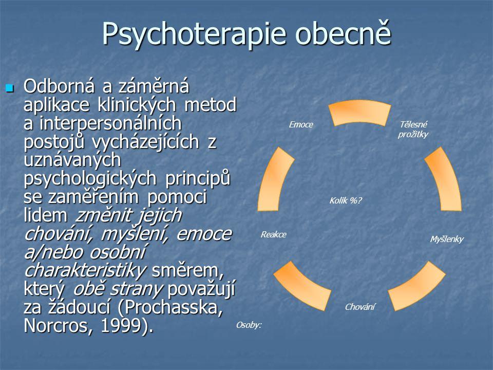 Psychoterapie obecně Odborná a záměrná aplikace klinických metod a interpersonálních postojů vycházejících z uznávaných psychologických principů se za