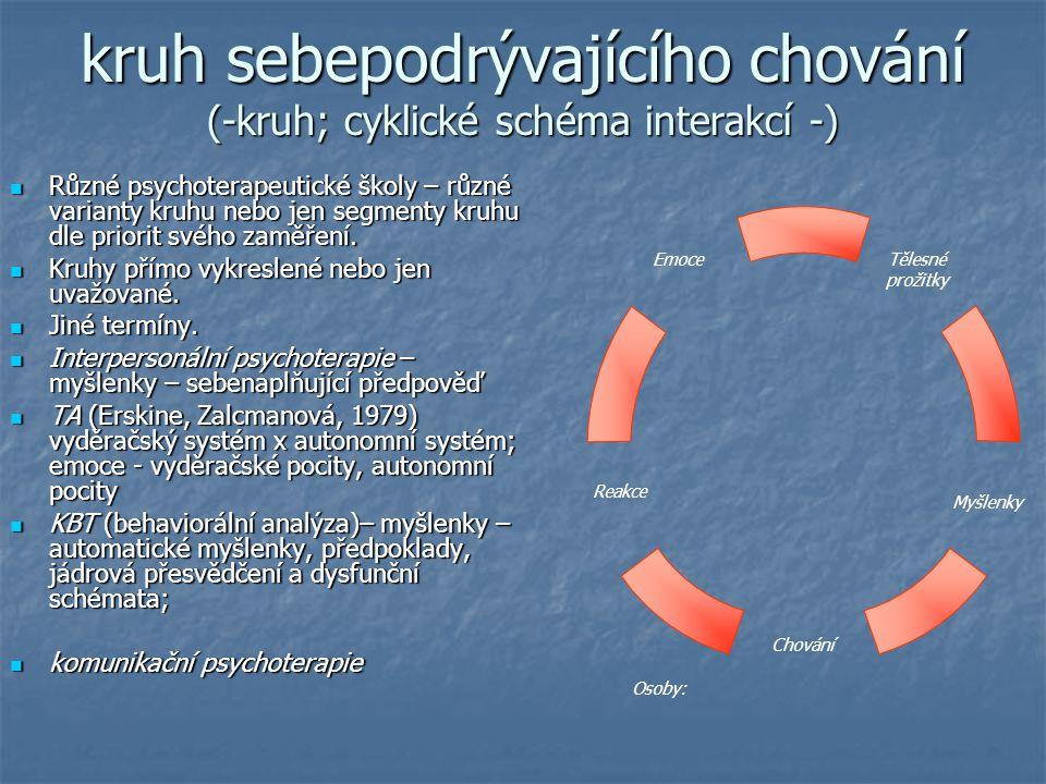 kruh sebepodrývajícího chování (-kruh; cyklické schéma interakcí -) Různé psychoterapeutické školy – různé varianty kruhu nebo jen segmenty kruhu dle