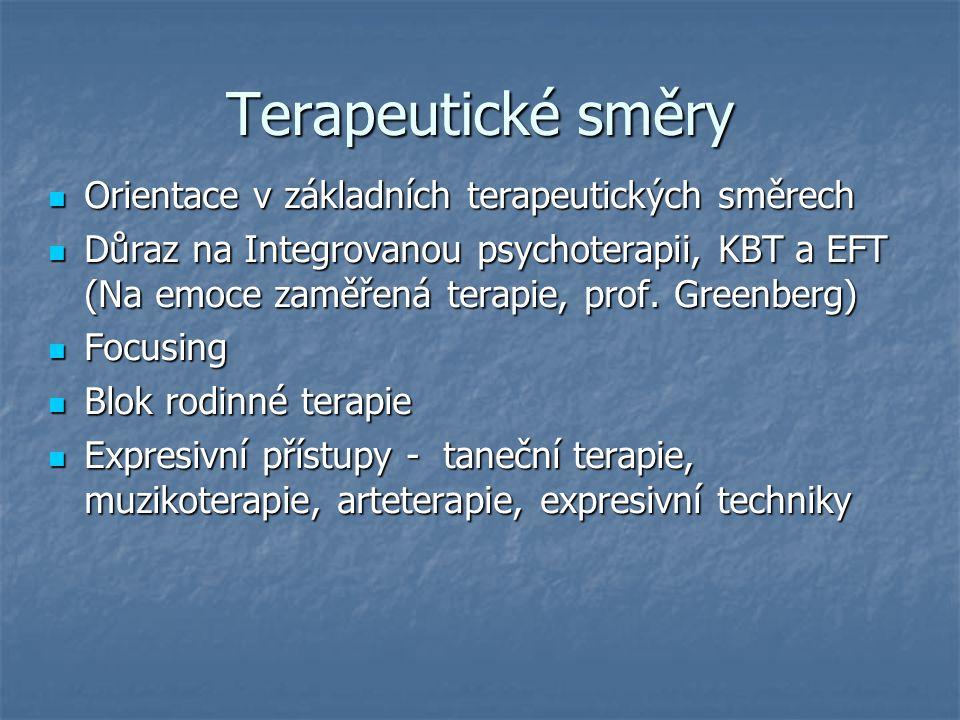Terapeutické směry Orientace v základních terapeutických směrech Orientace v základních terapeutických směrech Důraz na Integrovanou psychoterapii, KB