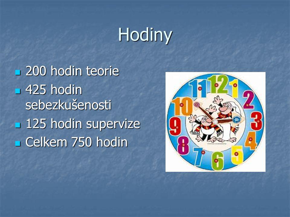 Hodiny 200 hodin teorie 200 hodin teorie 425 hodin sebezkušenosti 425 hodin sebezkušenosti 125 hodin supervize 125 hodin supervize Celkem 750 hodin Ce