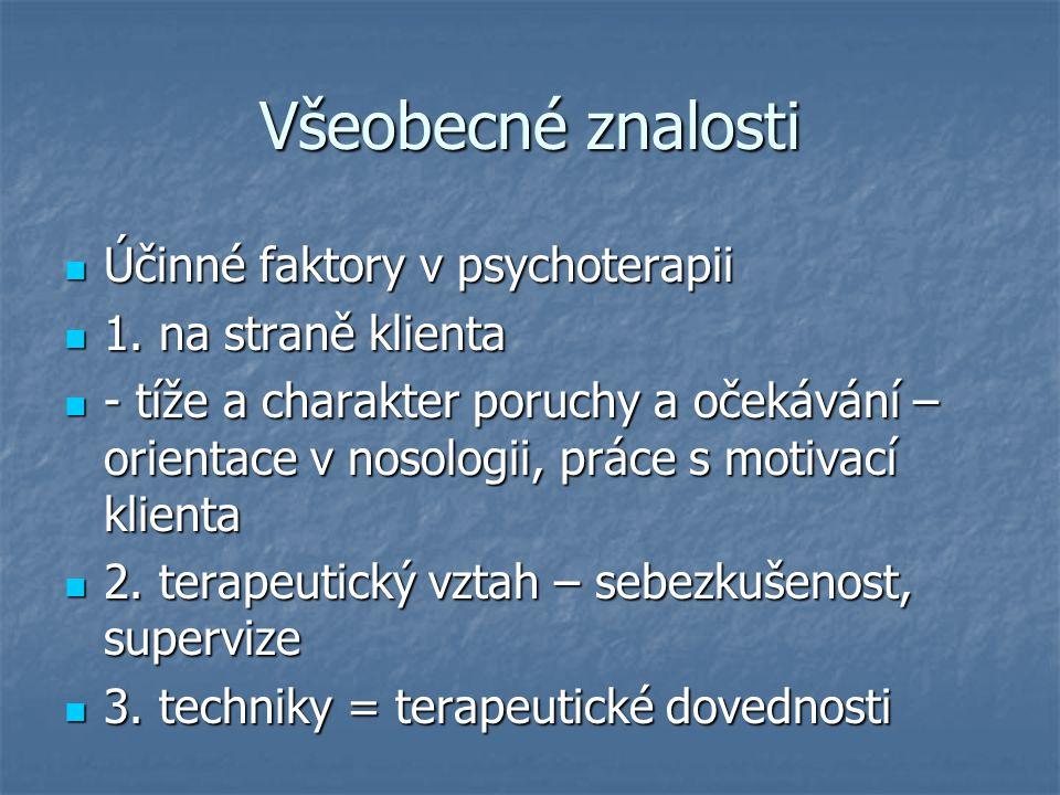 Všeobecné znalosti Účinné faktory v psychoterapii Účinné faktory v psychoterapii 1. na straně klienta 1. na straně klienta - tíže a charakter poruchy
