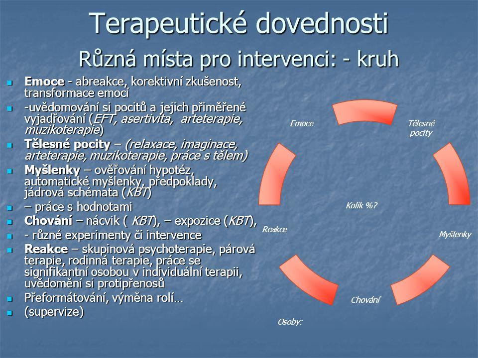Terapeutické dovednosti Různá místa pro intervenci: - kruh Emoce - abreakce, korektivní zkušenost, transformace emocí Emoce - abreakce, korektivní zku