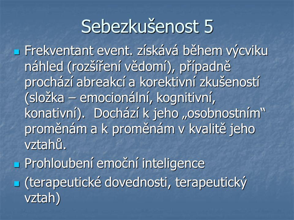 Sebezkušenost 5 Frekventant event. získává během výcviku náhled (rozšíření vědomí), případně prochází abreakcí a korektivní zkušeností (složka – emoci