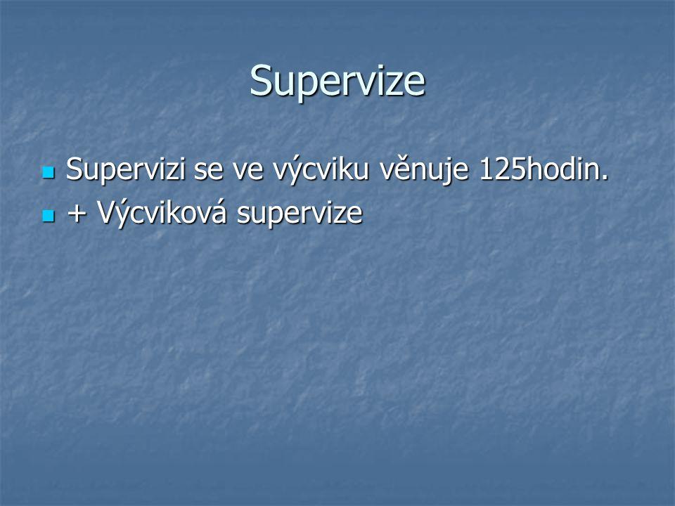 Supervize Supervizi se ve výcviku věnuje 125hodin. Supervizi se ve výcviku věnuje 125hodin. + Výcviková supervize + Výcviková supervize