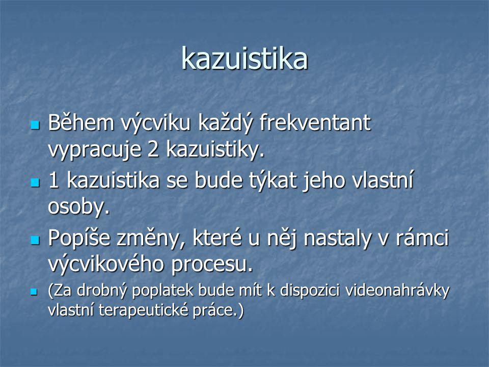 kazuistika Během výcviku každý frekventant vypracuje 2 kazuistiky. Během výcviku každý frekventant vypracuje 2 kazuistiky. 1 kazuistika se bude týkat
