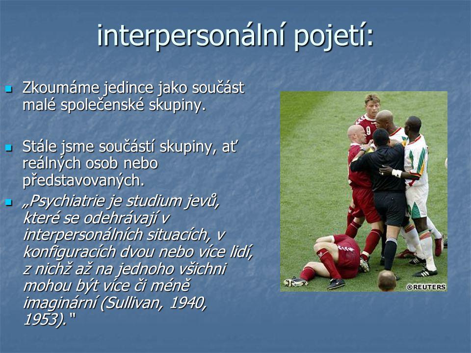 interpersonální pojetí: Zkoumáme jedince jako součást malé společenské skupiny. Zkoumáme jedince jako součást malé společenské skupiny. Stále jsme sou
