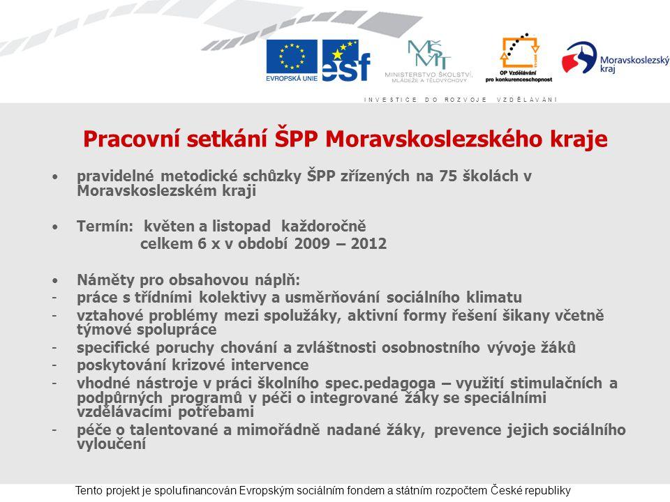 I N V E S T I C E D O R O Z V O J E V Z D Ě L Á V Á N Í Tento projekt je spolufinancován Evropským sociálním fondem a státním rozpočtem České republik