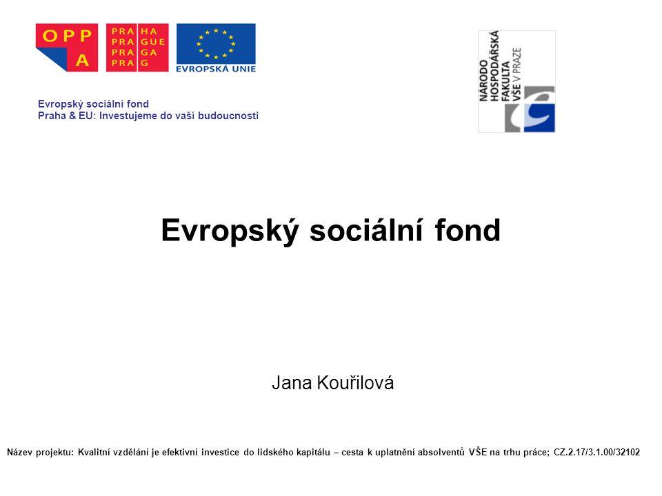 Evropský sociální fond Jana Kouřilová Evropský sociální fond Praha & EU: Investujeme do vaší budoucnosti Název projektu: Kvalitní vzdělání je efektivní investice do lidského kapitálu – cesta k uplatnění absolventů VŠE na trhu práce; CZ.2.17/3.1.00/32102