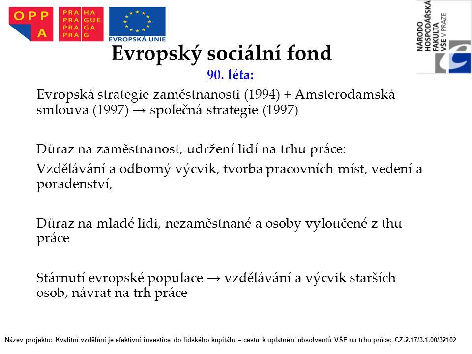 90. léta: Evropská strategie zaměstnanosti (1994) + Amsterodamská smlouva (1997) → společná strategie (1997) Důraz na zaměstnanost, udržení lidí na tr