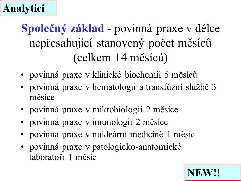 Společný základ - povinná praxe v délce nepřesahující stanovený počet měsíců (celkem 14 měsíců) povinná praxe v klinické biochemii 5 měsíců povinná pr
