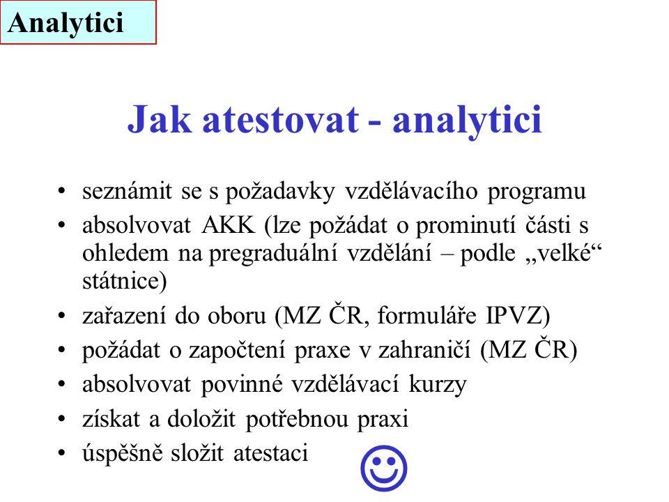 Jak atestovat - analytici seznámit se s požadavky vzdělávacího programu absolvovat AKK (lze požádat o prominutí části s ohledem na pregraduální vzdělá