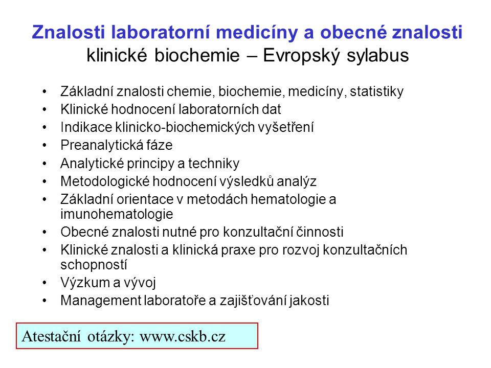 Znalosti laboratorní medicíny a obecné znalosti klinické biochemie – Evropský sylabus Základní znalosti chemie, biochemie, medicíny, statistiky Klinic