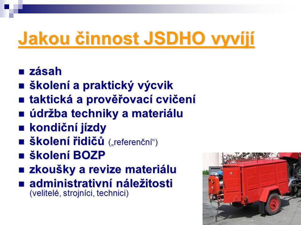 """Jakou činnost JSDHO vyvíjí zásah zásah školení a praktický výcvik školení a praktický výcvik taktická a prověřovací cvičení taktická a prověřovací cvičení údržba techniky a materiálu údržba techniky a materiálu kondiční jízdy kondiční jízdy školení řidičů (""""referenční ) školení řidičů (""""referenční ) školení BOZP školení BOZP zkoušky a revize materiálu zkoušky a revize materiálu administrativní náležitosti (velitelé, strojníci, technici) administrativní náležitosti (velitelé, strojníci, technici)"""
