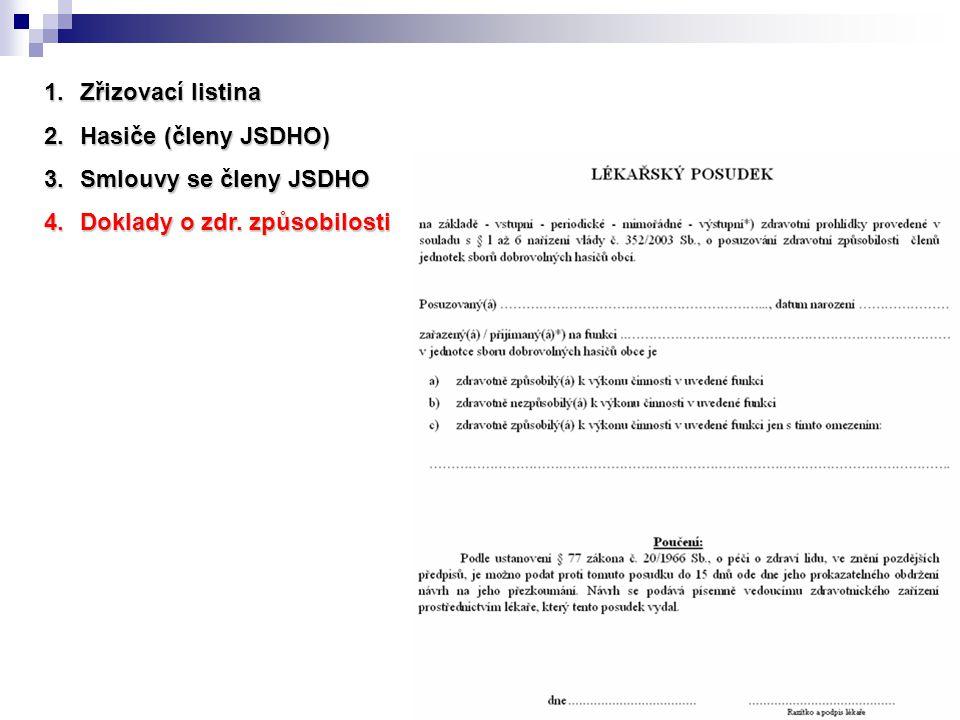 1.Zřizovací listina 2.Hasiče (členy JSDHO) 3.Smlouvy se členy JSDHO 4.Doklady o zdr. způsobilosti