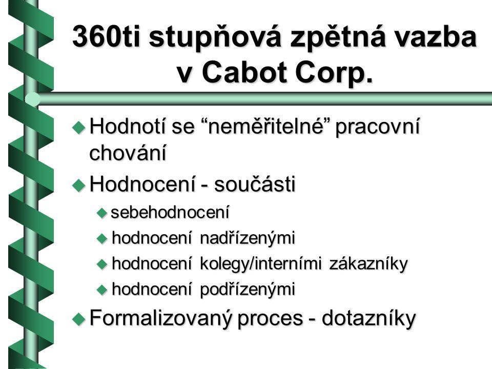 Proč proces 360°zpětné vazby ve společnosti Cabot.