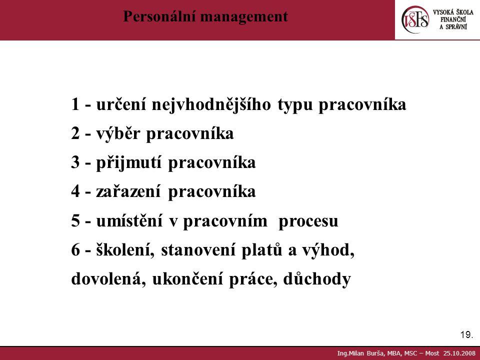 19. Ing.Milan Burša, MBA, MSC – Most 25.10.2008 Personální management 1 - určení nejvhodnějšího typu pracovníka 2 - výběr pracovníka 3 - přijmutí prac