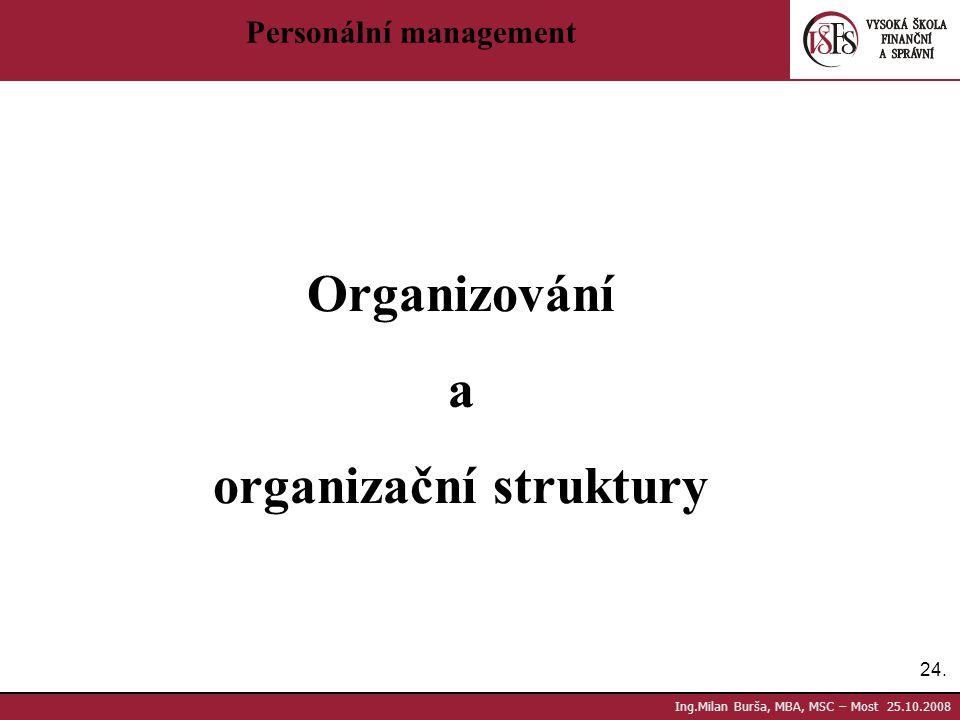 24. Ing.Milan Burša, MBA, MSC – Most 25.10.2008 Personální management Organizování a organizační struktury