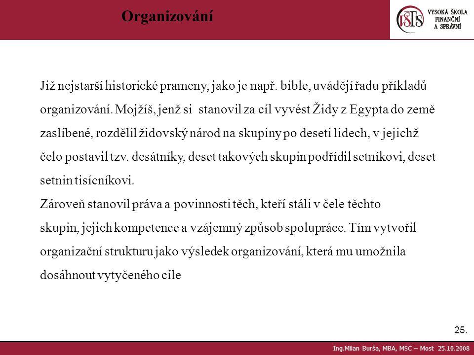 25. Ing.Milan Burša, MBA, MSC – Most 25.10.2008 Organizování Již nejstarší historické prameny, jako je např. bible, uvádějí řadu příkladů organizování