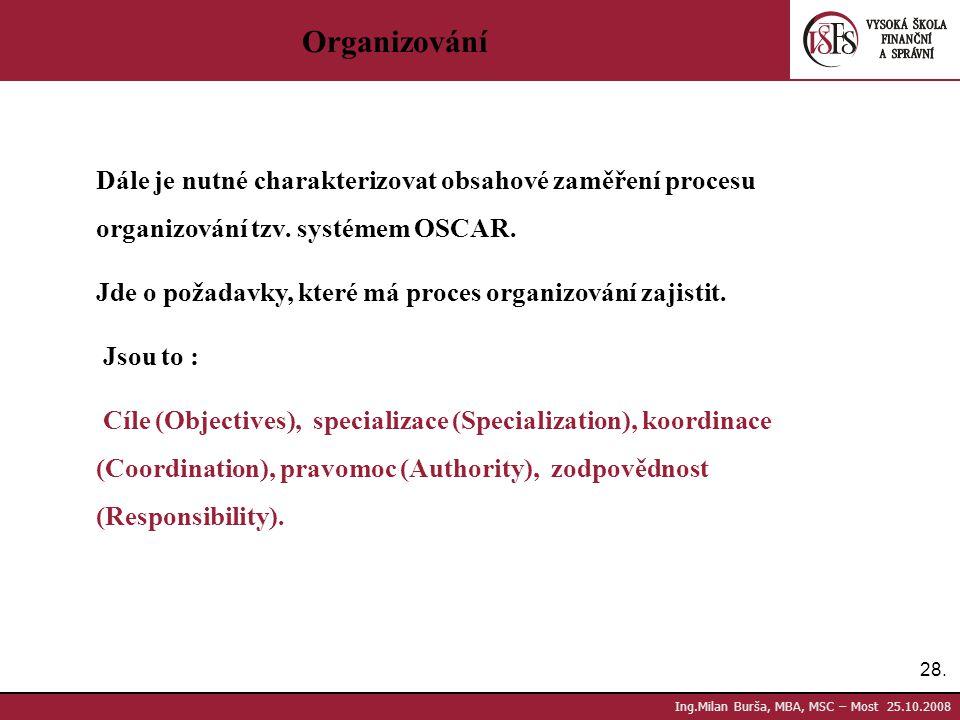 28. Ing.Milan Burša, MBA, MSC – Most 25.10.2008 Organizování Dále je nutné charakterizovat obsahové zaměření procesu organizování tzv. systémem OSCAR.