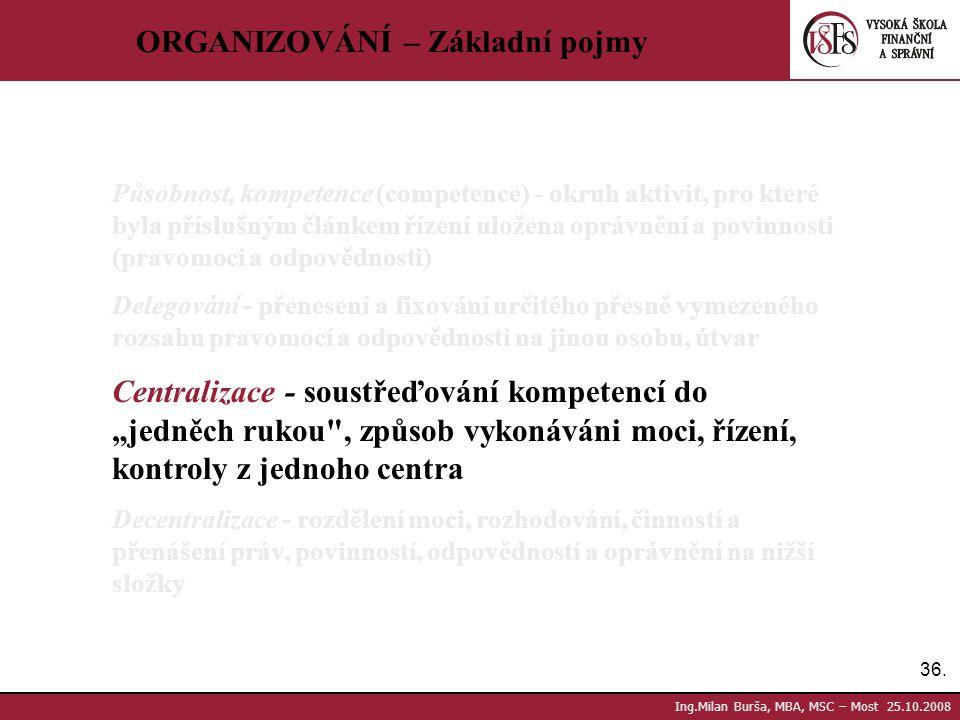 36. Ing.Milan Burša, MBA, MSC – Most 25.10.2008 ORGANIZOVÁNÍ – Základní pojmy Působnost, kompetence (competence) - okruh aktivit, pro které byla přísl