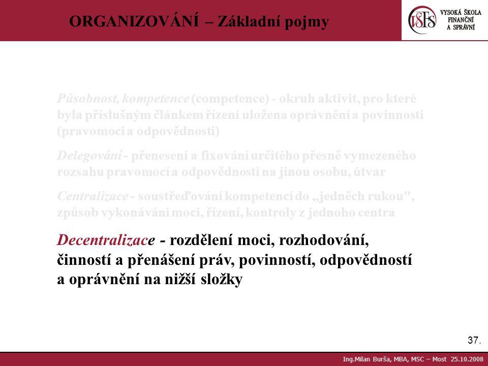 37. Ing.Milan Burša, MBA, MSC – Most 25.10.2008 ORGANIZOVÁNÍ – Základní pojmy Působnost, kompetence (competence) - okruh aktivit, pro které byla přísl