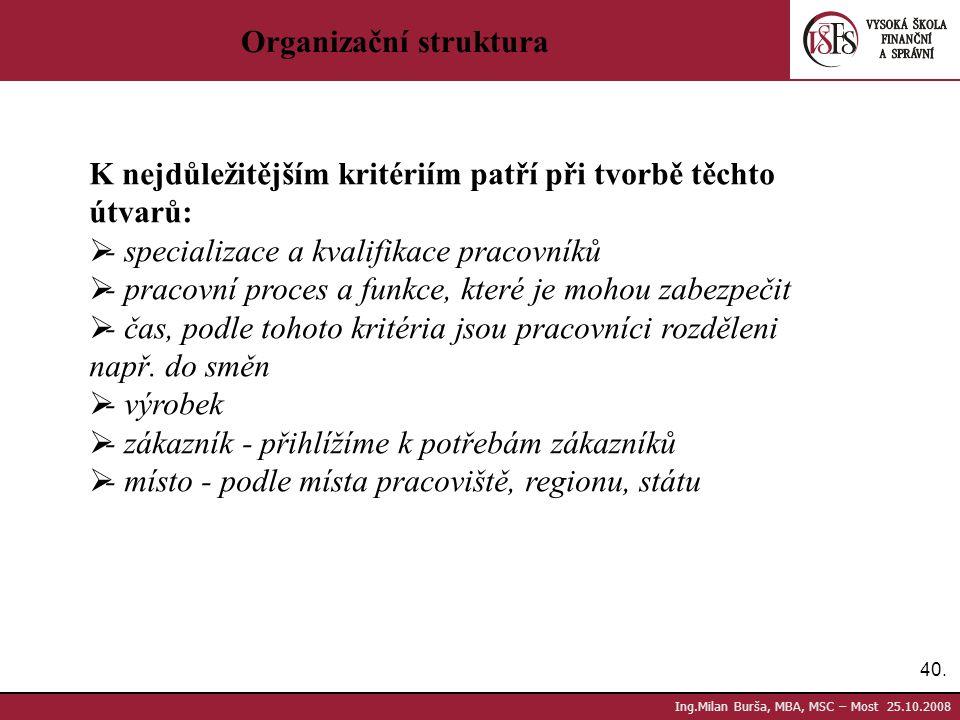 40. Ing.Milan Burša, MBA, MSC – Most 25.10.2008 Organizační struktura K nejdůležitějším kritériím patří při tvorbě těchto útvarů:  - specializace a k