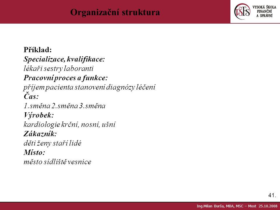 41. Ing.Milan Burša, MBA, MSC – Most 25.10.2008 Organizační struktura Příklad: Specializace, kvalifikace: lékaři sestry laboranti Pracovní proces a fu