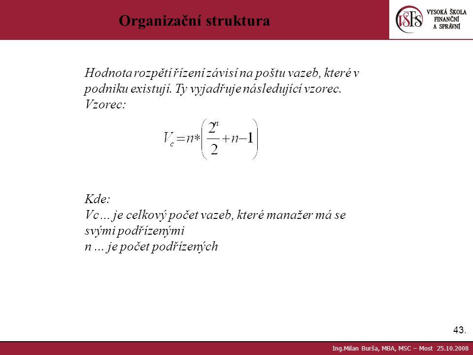 43. Ing.Milan Burša, MBA, MSC – Most 25.10.2008 Organizační struktura Hodnota rozpětí řízení závisí na poštu vazeb, které v podniku existují. Ty vyjad