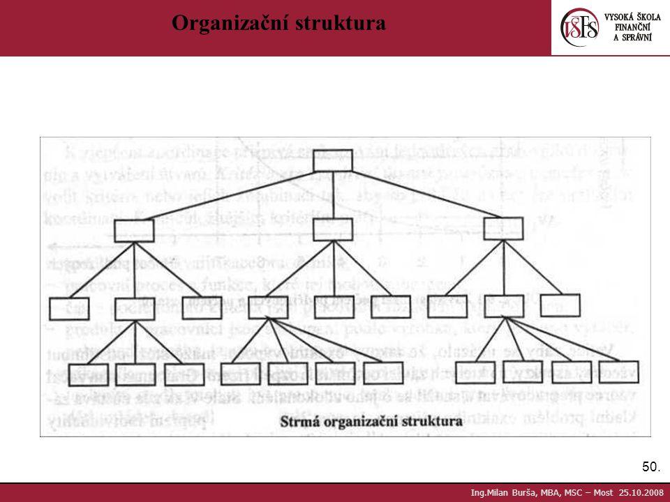 50. Ing.Milan Burša, MBA, MSC – Most 25.10.2008 Organizační struktura