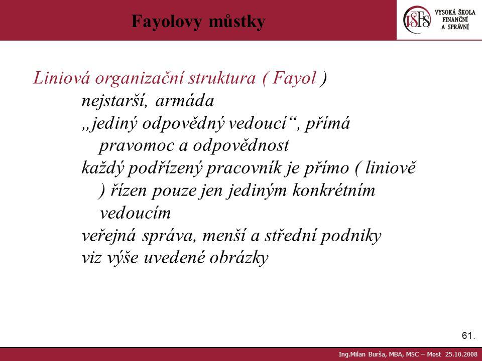 """61. Ing.Milan Burša, MBA, MSC – Most 25.10.2008 Fayolovy můstky Liniová organizační struktura ( Fayol ) nejstarší, armáda """"jediný odpovědný vedoucí"""","""
