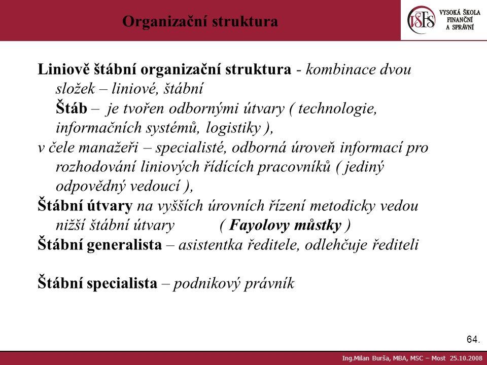 64. Ing.Milan Burša, MBA, MSC – Most 25.10.2008 Organizační struktura Liniově štábní organizační struktura - kombinace dvou složek – liniové, štábní Š