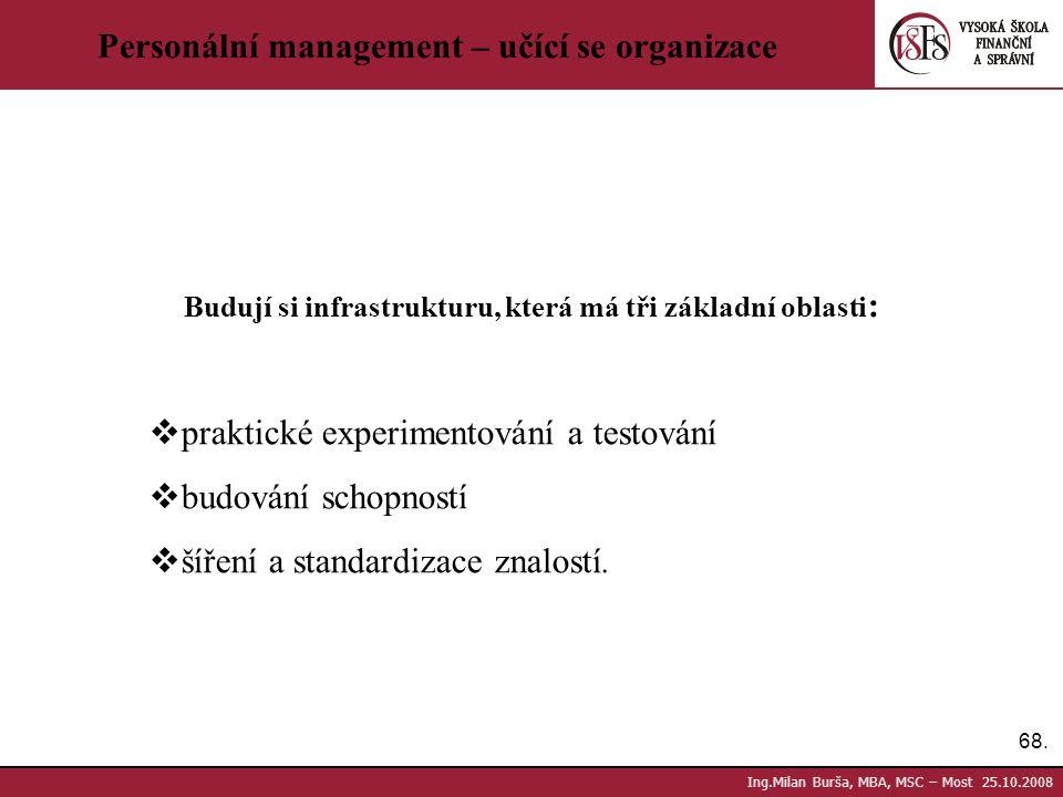 68. Ing.Milan Burša, MBA, MSC – Most 25.10.2008 Personální management – učící se organizace Budují si infrastrukturu, která má tři základní oblasti :