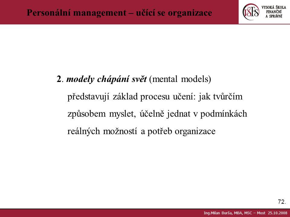 72. Ing.Milan Burša, MBA, MSC – Most 25.10.2008 Personální management – učící se organizace 2. modely chápání svět (mental models) představují základ