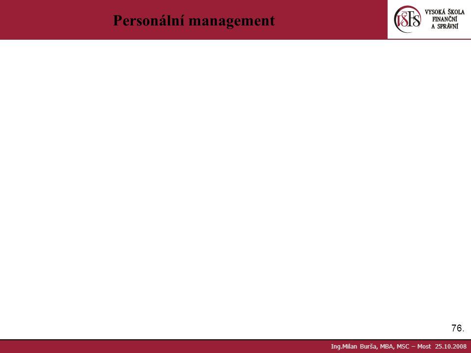 76. Ing.Milan Burša, MBA, MSC – Most 25.10.2008 Personální management