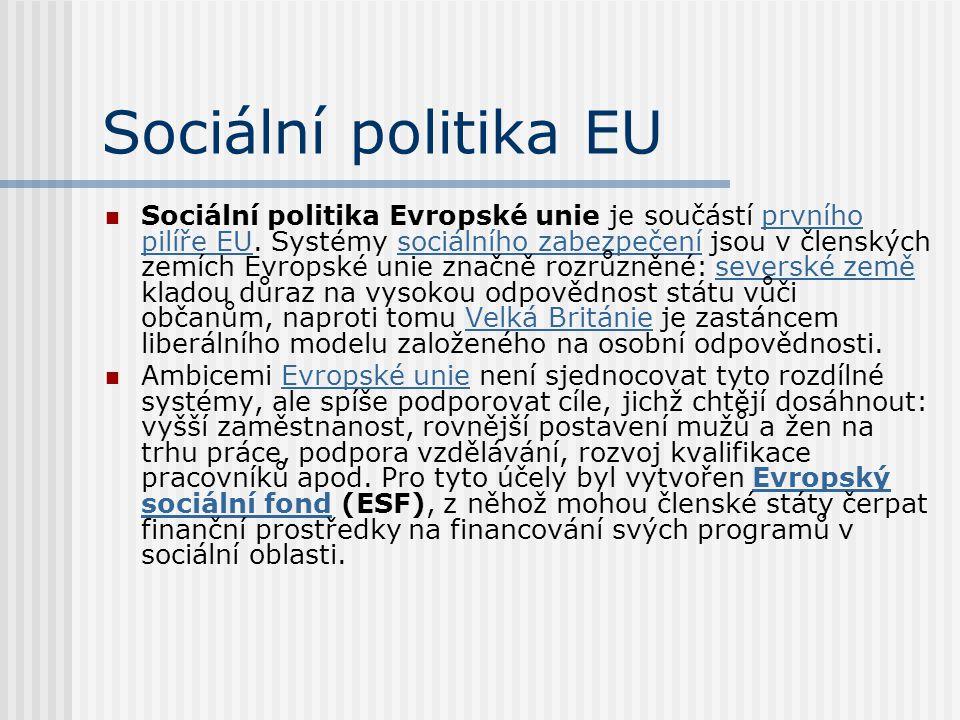 Sociální politika EU Sociální politika Evropské unie je součástí prvního pilíře EU. Systémy sociálního zabezpečení jsou v členských zemích Evropské un