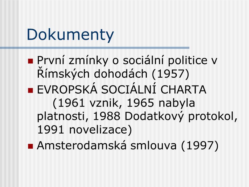 Dokumenty První zmínky o sociální politice v Římských dohodách (1957) EVROPSKÁ SOCIÁLNÍ CHARTA (1961 vznik, 1965 nabyla platnosti, 1988 Dodatkový prot