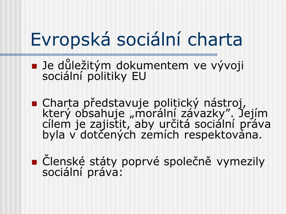 """Evropská sociální charta Je důležitým dokumentem ve vývoji sociální politiky EU Charta představuje politický nástroj, který obsahuje """"morální závazky"""""""
