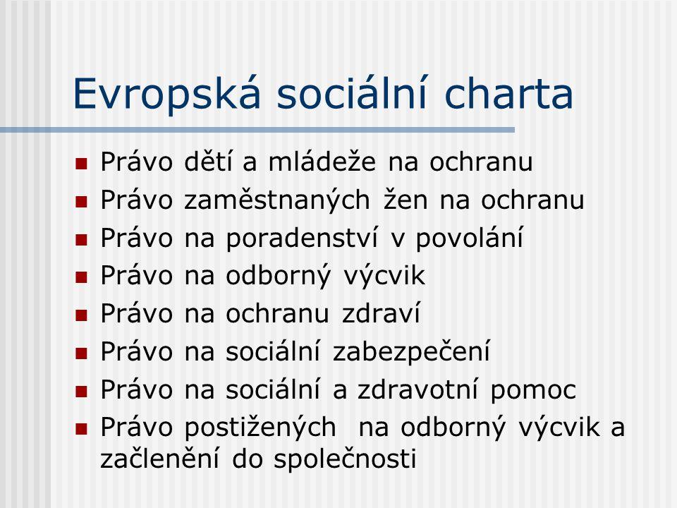 Evropská sociální charta Právo dětí a mládeže na ochranu Právo zaměstnaných žen na ochranu Právo na poradenství v povolání Právo na odborný výcvik Prá