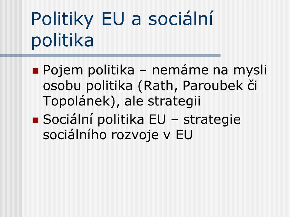 Politiky EU a sociální politika Pojem politika – nemáme na mysli osobu politika (Rath, Paroubek či Topolánek), ale strategii Sociální politika EU – st
