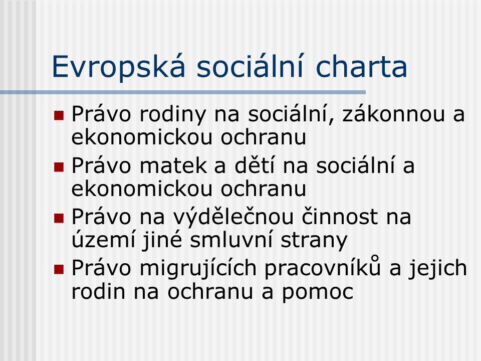 Evropská sociální charta Právo rodiny na sociální, zákonnou a ekonomickou ochranu Právo matek a dětí na sociální a ekonomickou ochranu Právo na výděle