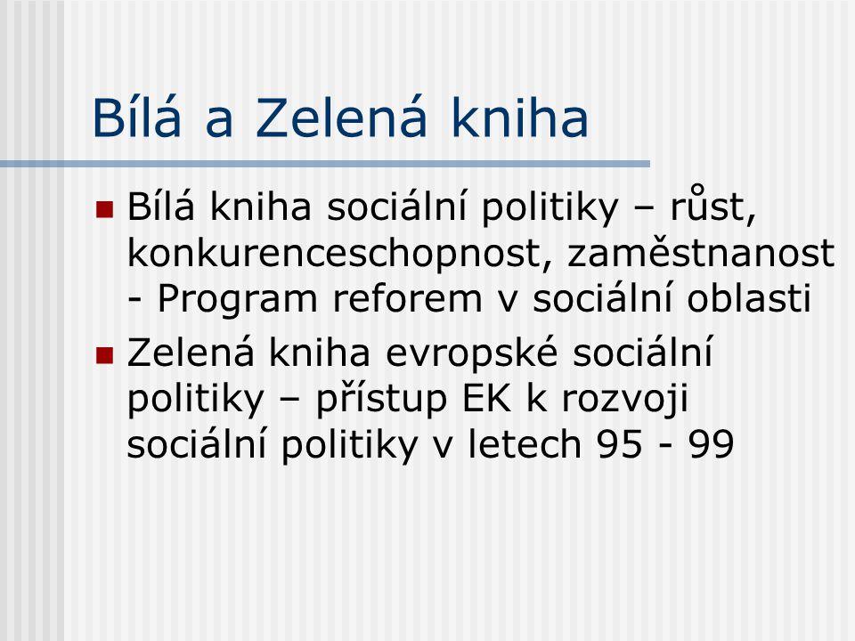 Bílá a Zelená kniha Bílá kniha sociální politiky – růst, konkurenceschopnost, zaměstnanost - Program reforem v sociální oblasti Zelená kniha evropské
