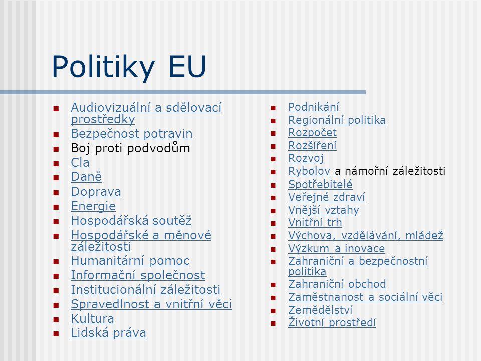 Politiky EU Audiovizuální a sdělovací prostředky Audiovizuální a sdělovací prostředky Bezpečnost potravin Boj proti podvodům Cla Daně Doprava Energie