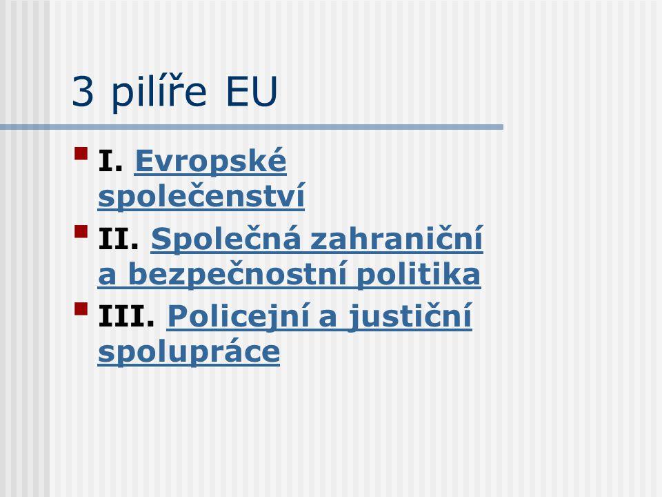 3 pilíře EU I. Evropské společenstvíEvropské společenství II. Společná zahraniční a bezpečnostní politikaSpolečná zahraniční a bezpečnostní politika I