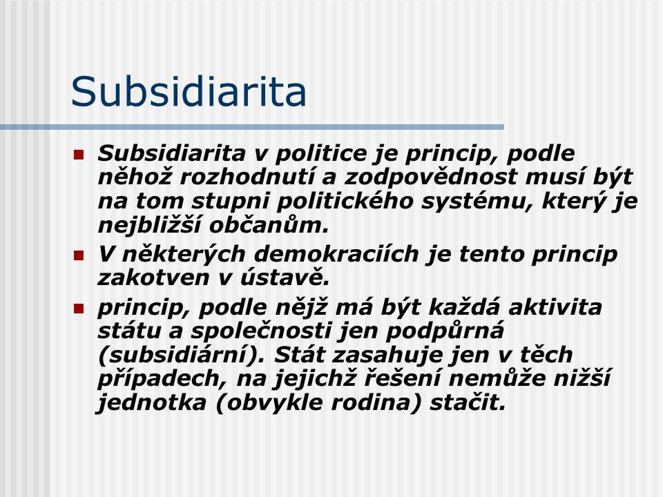 Subsidiarita Subsidiarita v politice je princip, podle něhož rozhodnutí a zodpovědnost musí být na tom stupni politického systému, který je nejbližší