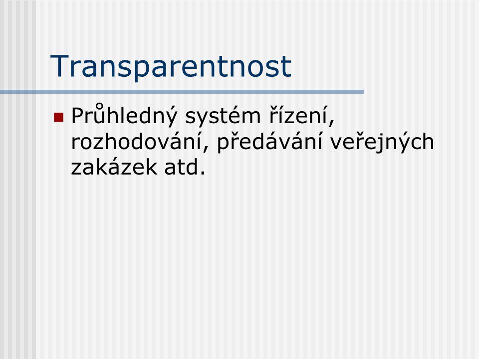Transparentnost Průhledný systém řízení, rozhodování, předávání veřejných zakázek atd.